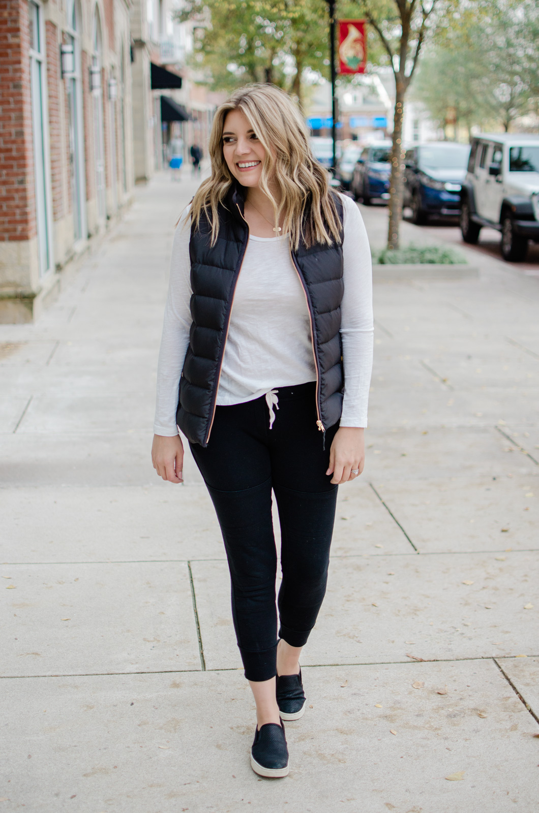 six puffer vest outfits - head to the blog to see all the ideas and get details of this jogger pants look! bylaurenm.com