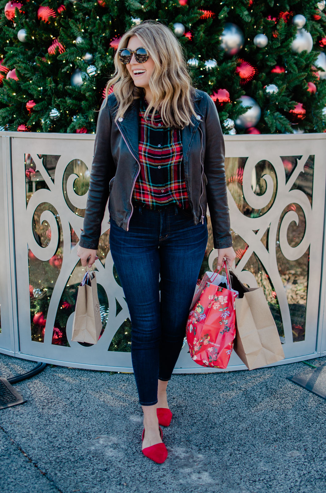 christmas plaid outfit - plaid with leather jacket | bylaurenm.com