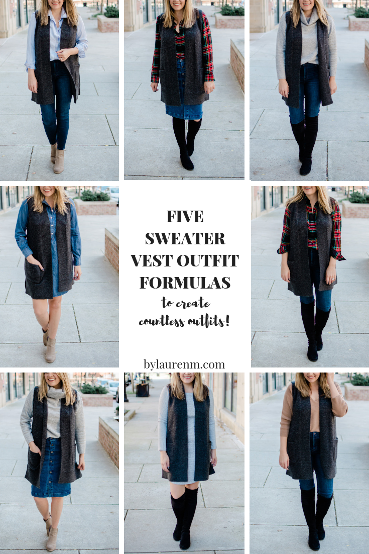 five sweater vest outfit formulas: you can use these ideas to create countless sweater vest outfits to take you from work to the weekend and fall into spring! bylaurenm.com