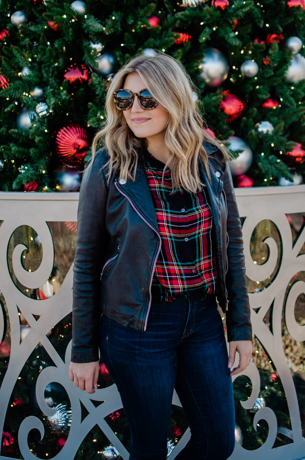christmas plaid outfit - leather jacket with plaid for the holidays | bylaurenm.com