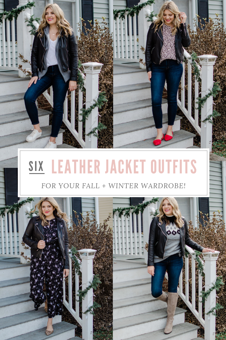 six leather jacket outfit ideas for your fall and winter wardrobe! See all of the looks at bylaurenm.com!
