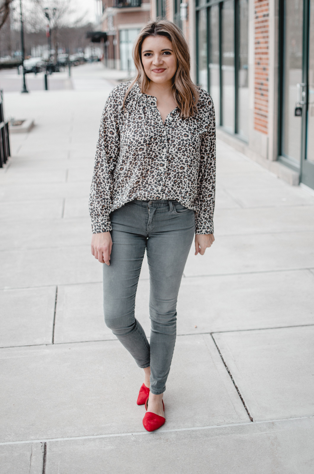 259ea89db4c Six winter to spring grey jeans outfits from Virginia blogger Lauren Dix.