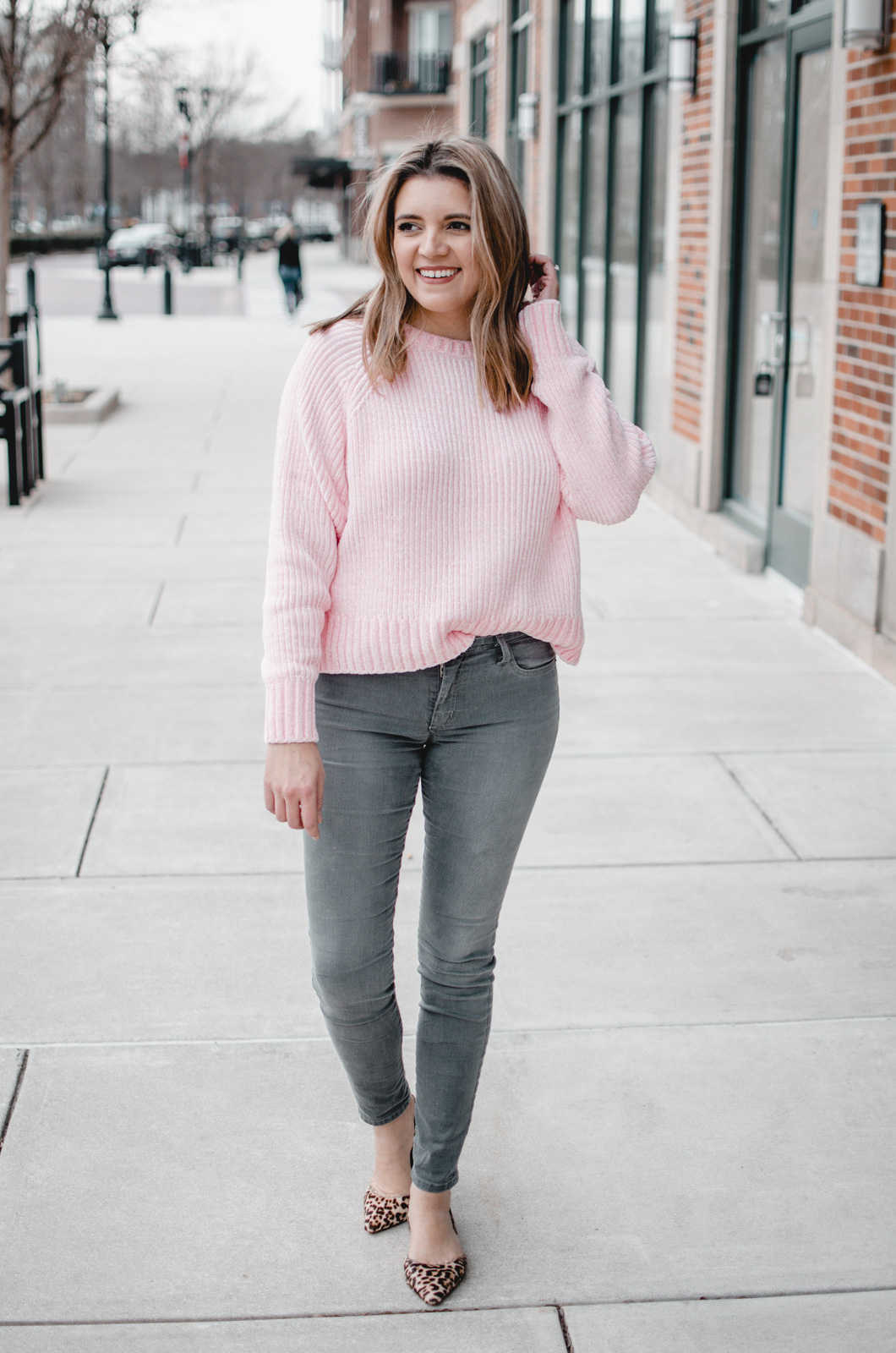 Six winter to spring grey jeans outfits from Virginia blogger Lauren Dix.