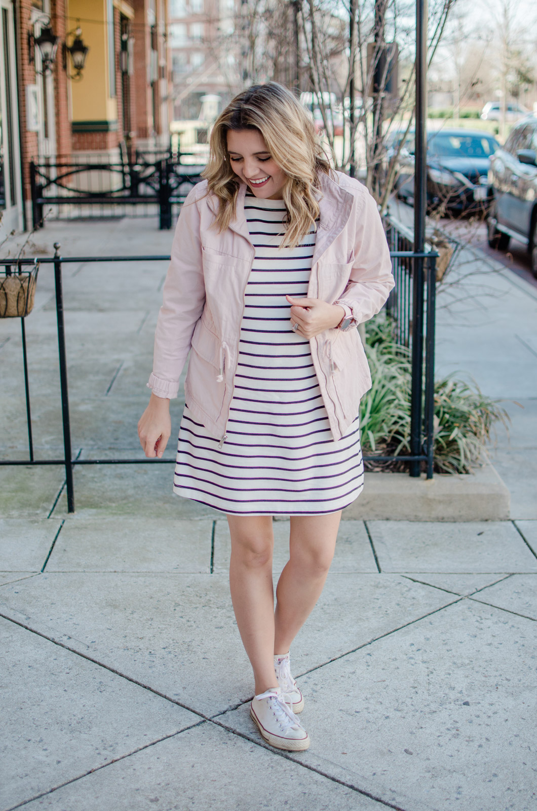 82c4e388351b Affordable style blogger Lauren Dix shares six stripe dress outfits for  going into spring! Come