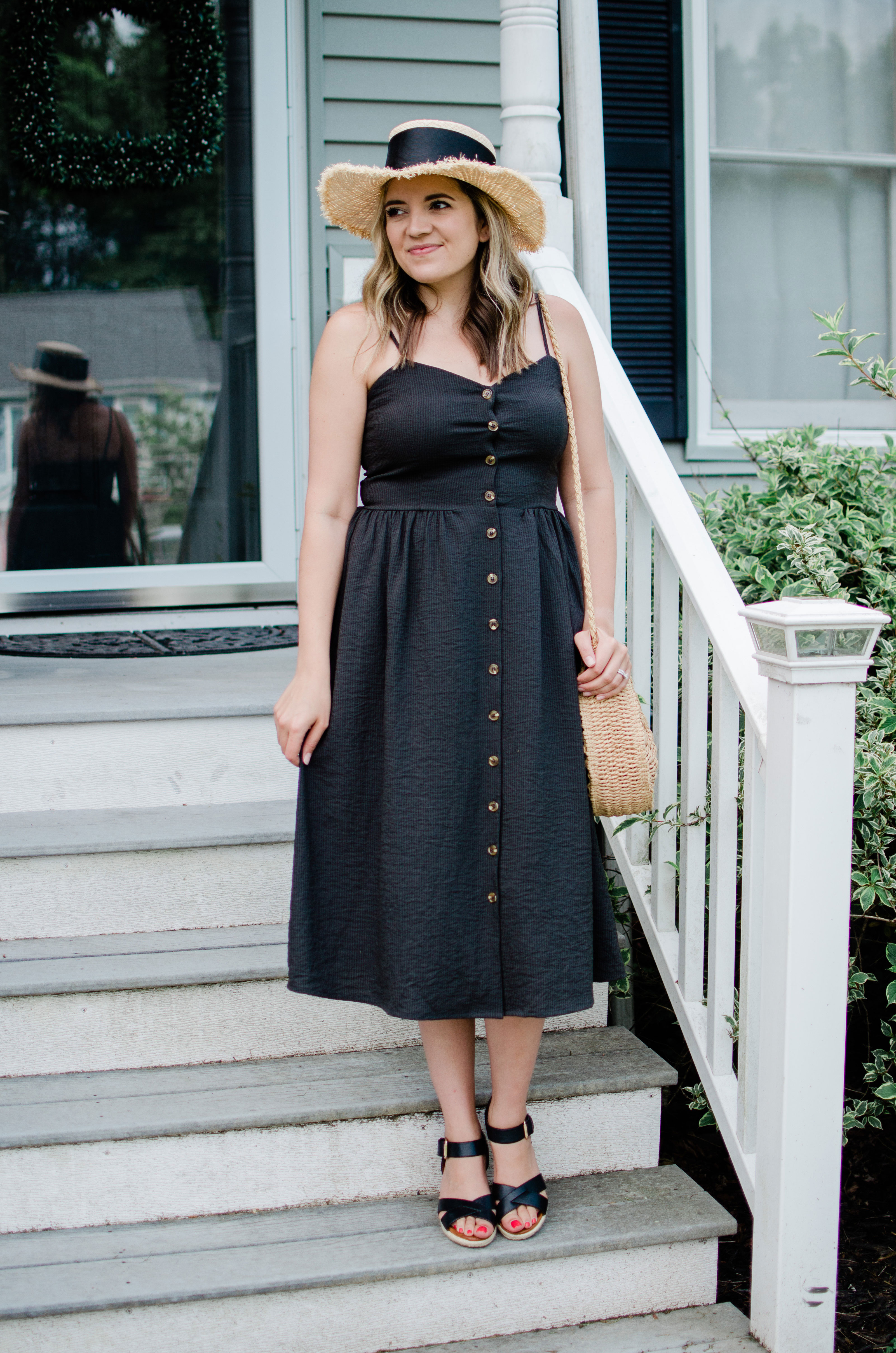 Virginia blogger, Lauren Dix, shares five sundress outfits for summer. She styles an affordable button-front dress from H&M five different ways.