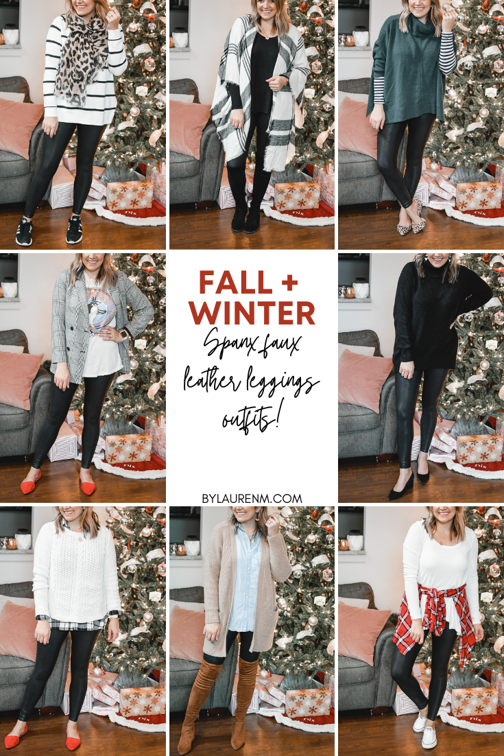 Virginia blogger, Lauren Dix, shares  Spanx faux leather leggings outfits for winter! From casual to dressy leggings outfits, see all the winter leggings outfit ideas!