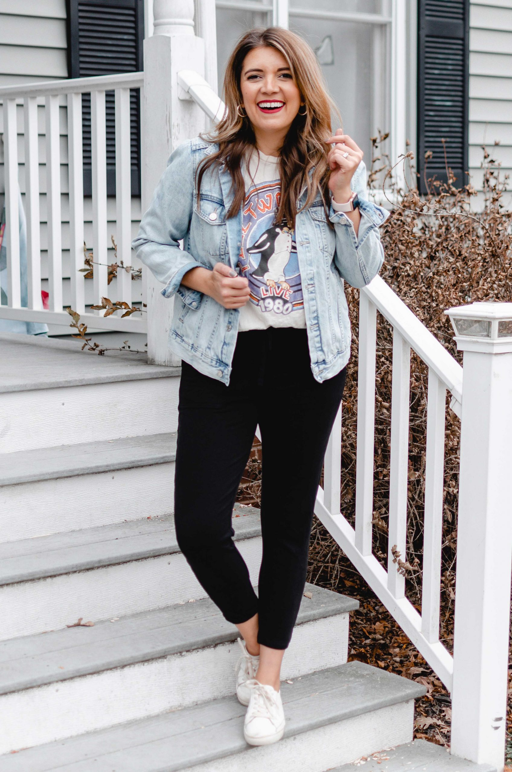 Virginia blogger, Lauren Dix, shares four ways to wear graphic tees for winter!