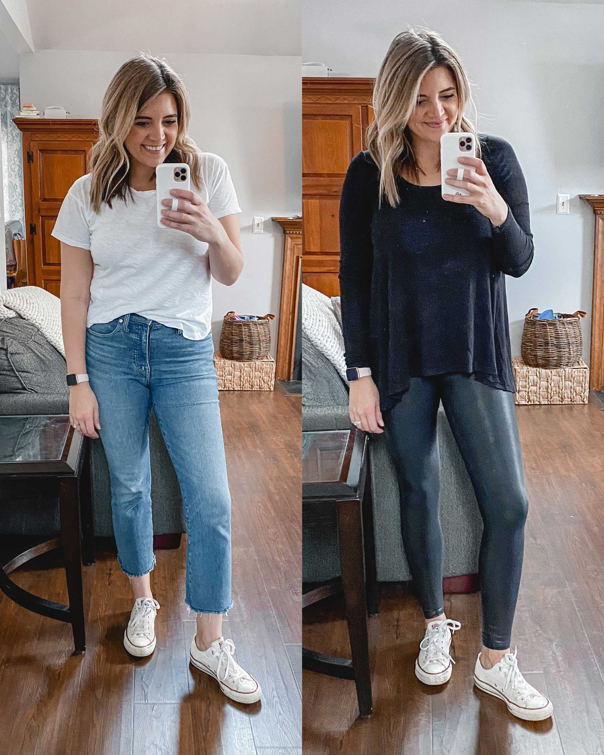 Virginia blogger, Lauren Dix, tries on 10 different pairs of white sneakers for the ultimate white sneaker review! She wears the Converse Chuck Taylor sneakers with both jeans and leggings!