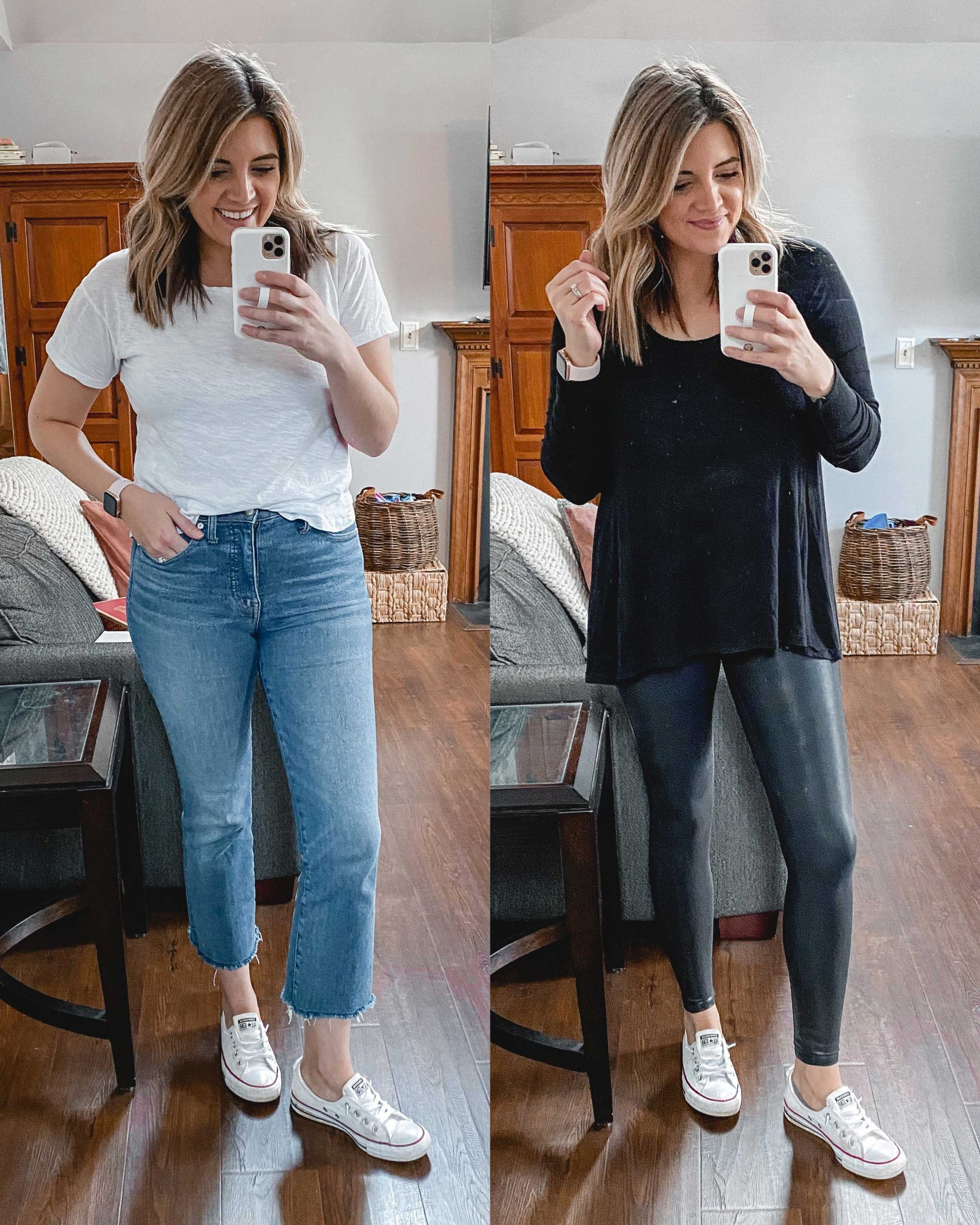 Virginia blogger, Lauren Dix, tries on 10 different pairs of white sneakers for the ultimate white sneaker review! She wears the Converse Shoreline Sneakers sneakers with both jeans and leggings!
