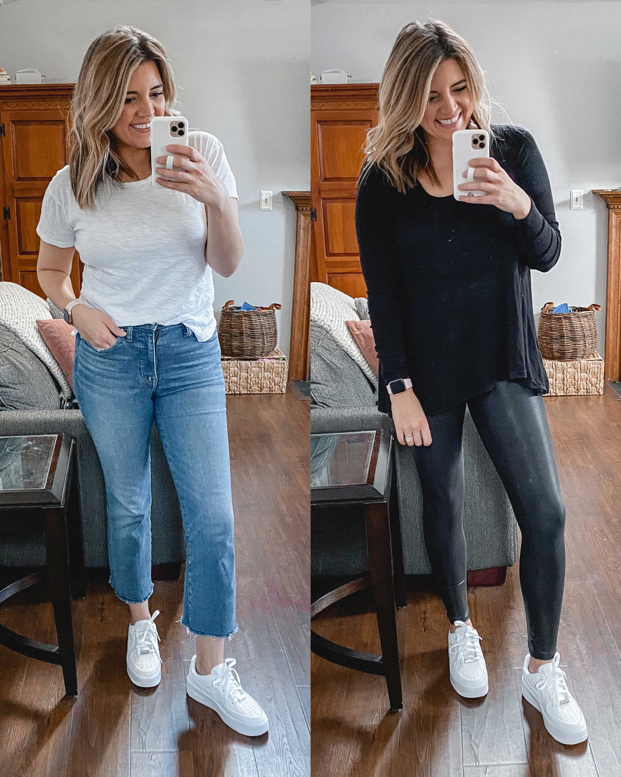 Virginia blogger, Lauren Dix, tries on 10 different pairs of white sneakers for the ultimate white sneaker review! She wears the Nike Air Force 1 sneakers with both jeans and leggings!