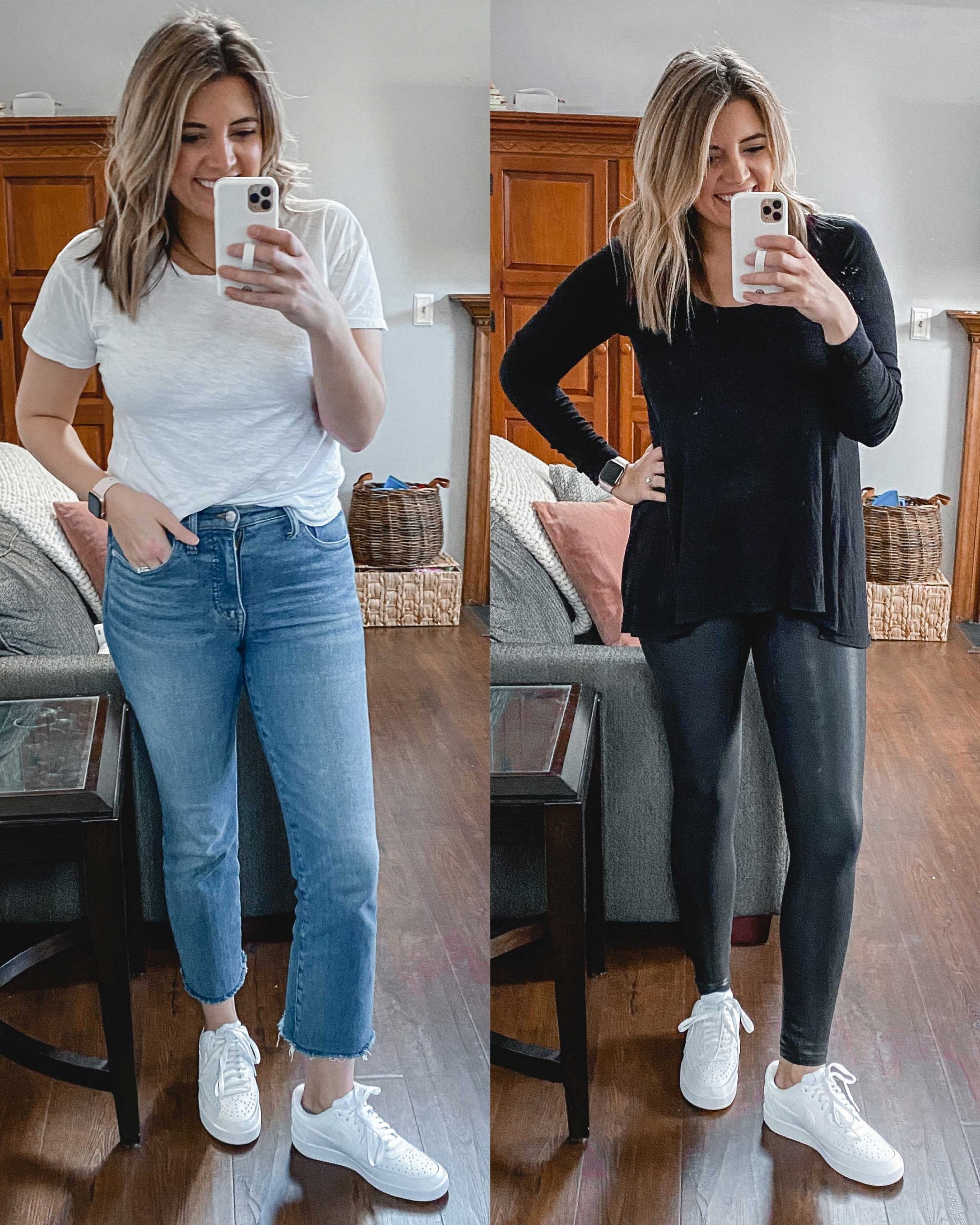 Virginia blogger, Lauren Dix, tries on 10 different pairs of white sneakers for the ultimate white sneaker review! She wears the Nike Court Vision sneakers with both jeans and leggings!
