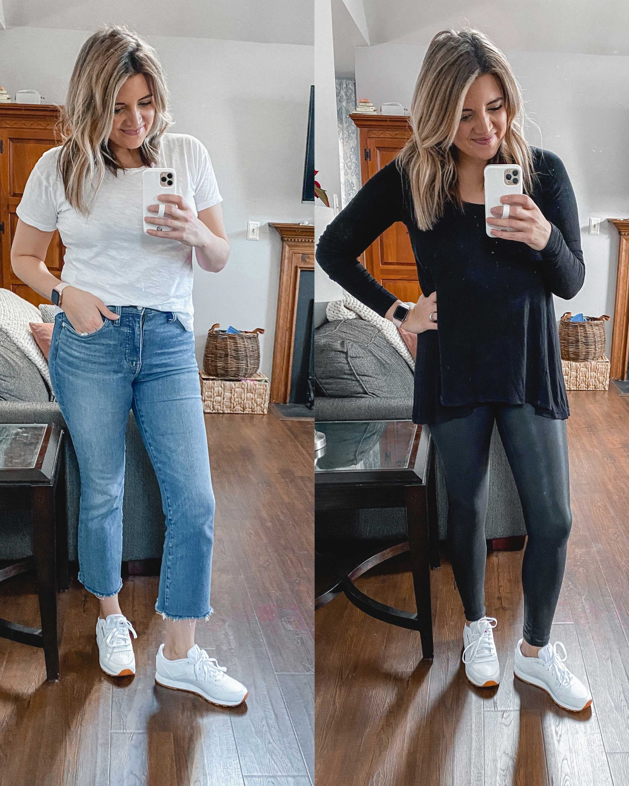 Virginia blogger, Lauren Dix, tries on 10 different pairs of white sneakers for the ultimate white sneaker review! She wears the Reebok Classic Leather sneakers with both jeans and leggings!