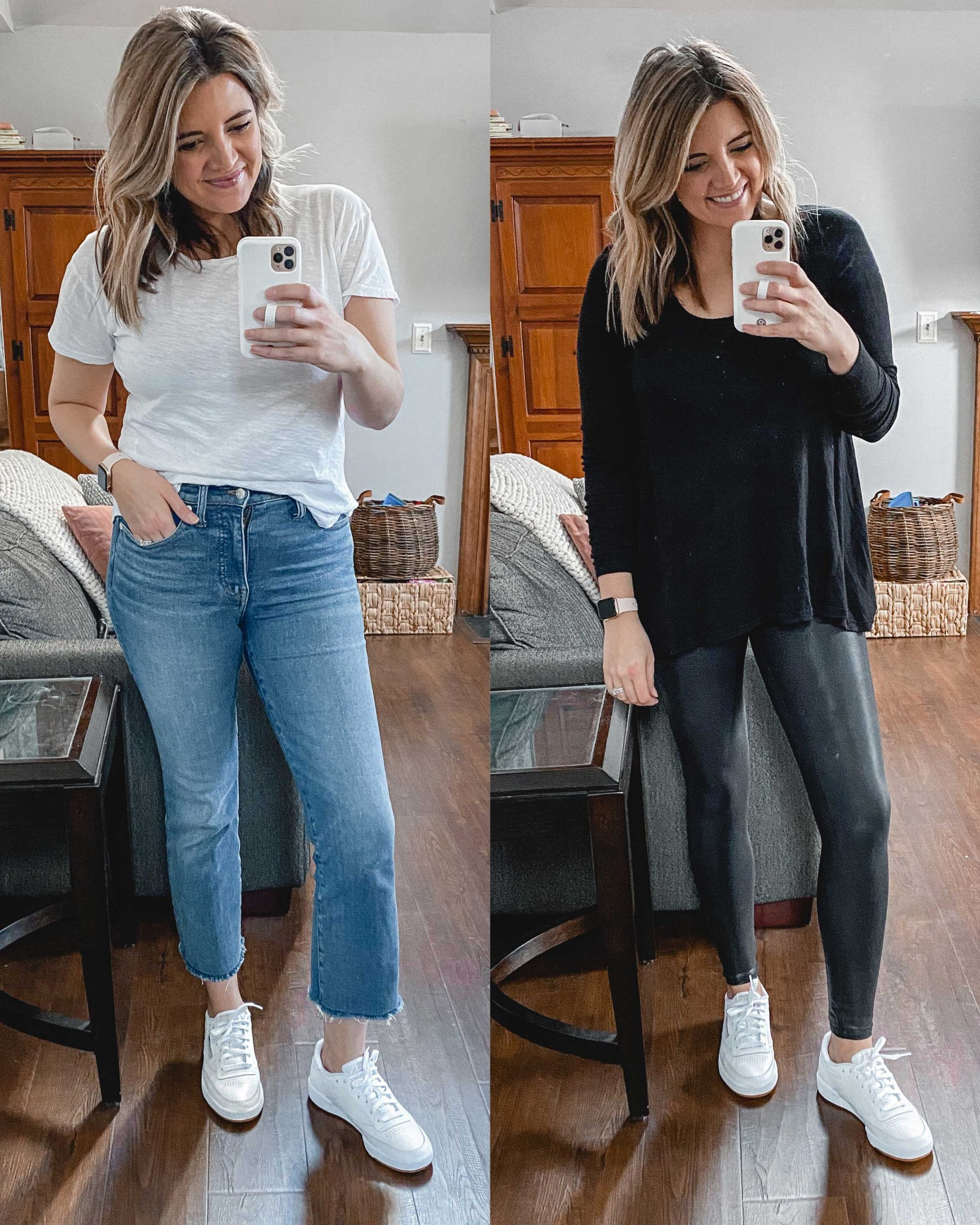 Virginia blogger, Lauren Dix, tries on 10 different pairs of white sneakers for the ultimate white sneaker review! She wears the Reebok Club C 85 sneakers with both jeans and leggings!
