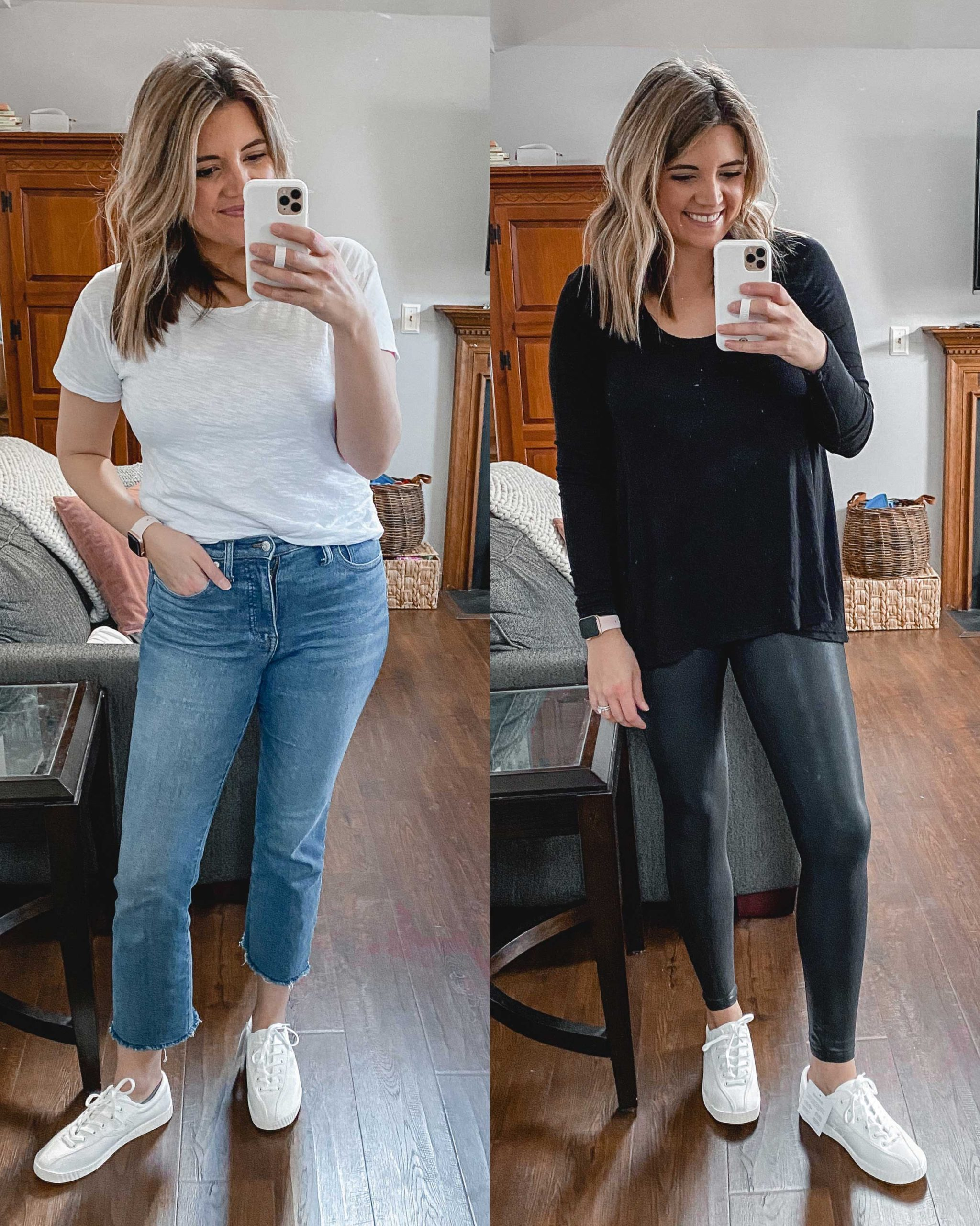 Virginia blogger, Lauren Dix, tries on 10 different pairs of white sneakers for the ultimate white sneaker review! She wears the Tretorn Nylite Plus sneakers with both jeans and leggings!