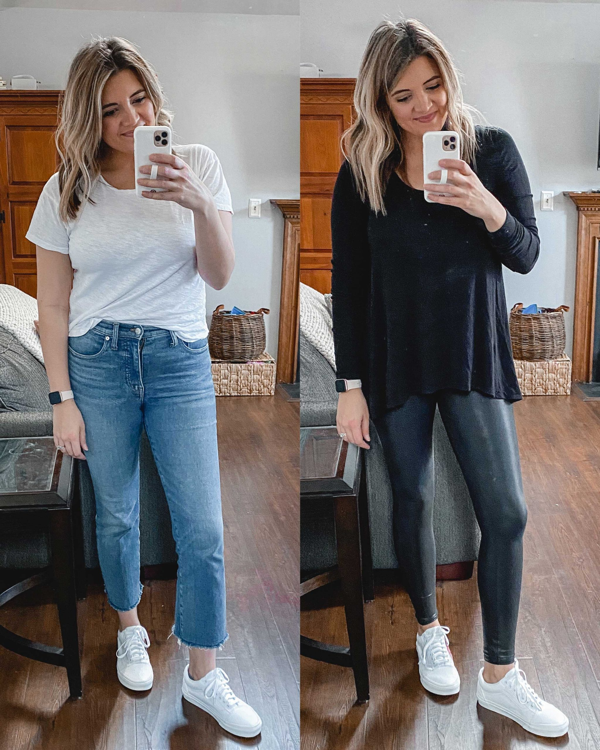 Virginia blogger, Lauren Dix, tries on 10 different pairs of white sneakers for the ultimate white sneaker review! She wears the Vans Old Skool sneakers with both jeans and leggings!