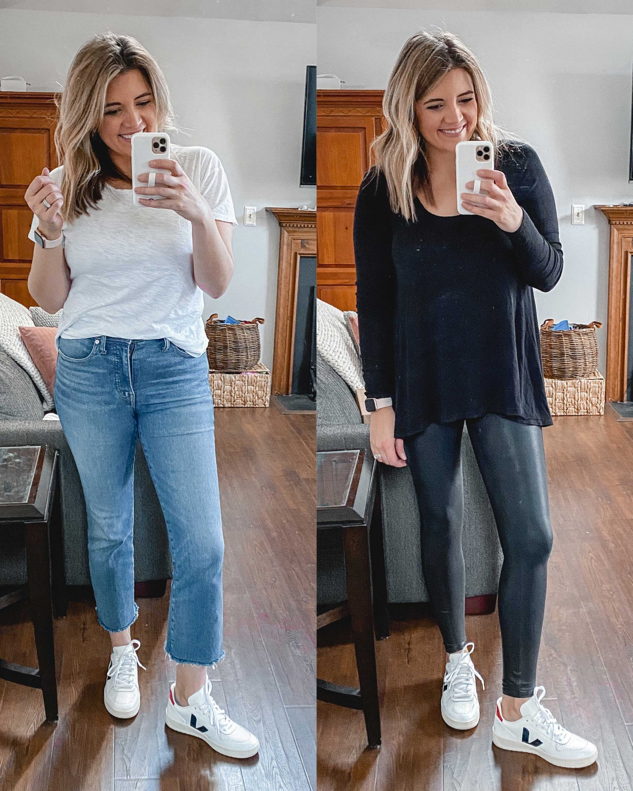 Virginia blogger, Lauren Dix, tries on 10 different pairs of white sneakers for the ultimate white sneaker review! She wears the VEJA V-10 sneakers with both jeans and leggings!