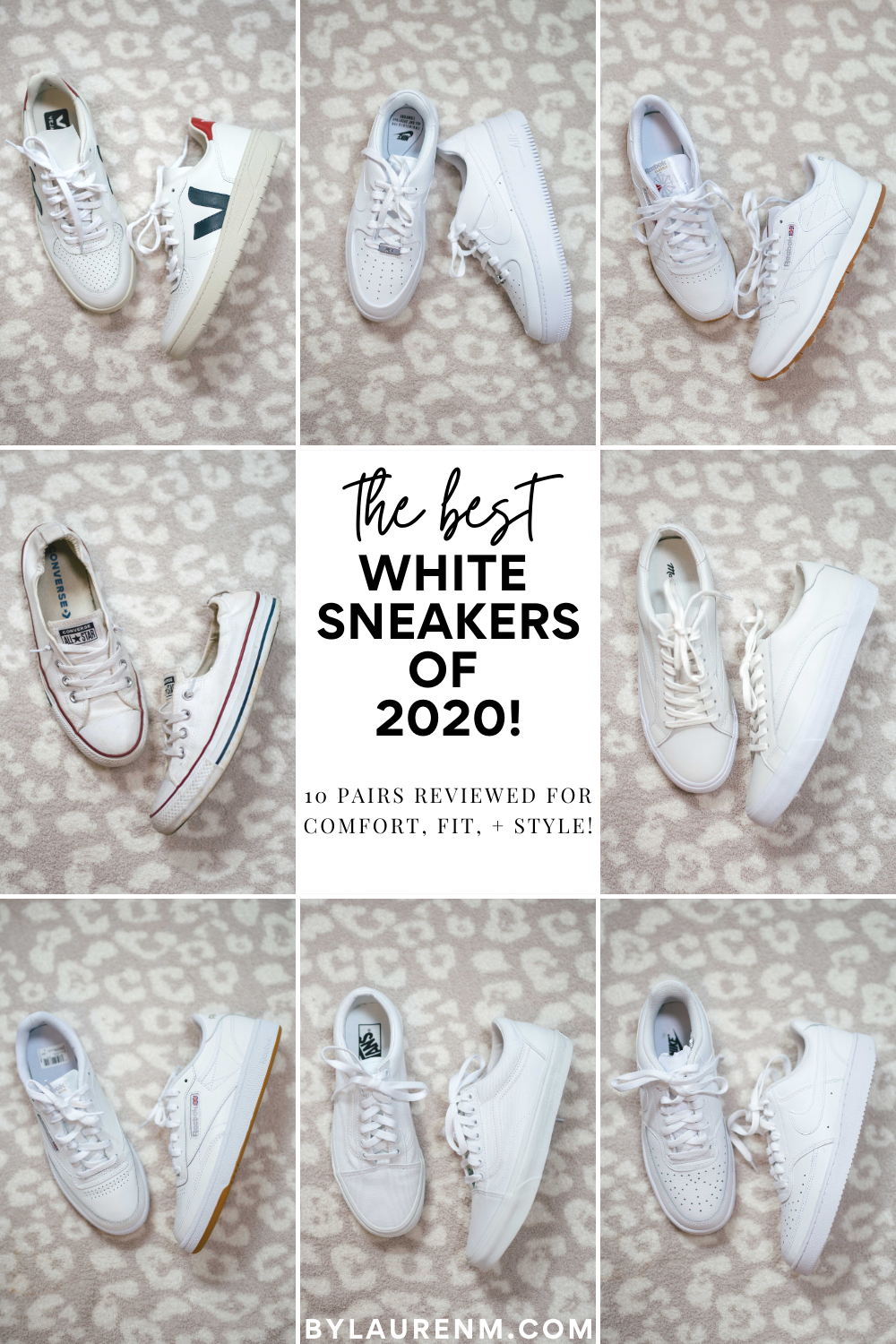 The BEST white sneakers! Lauren Dix reviewed 10 pairs of white sneakers for comfort, fit, and style!