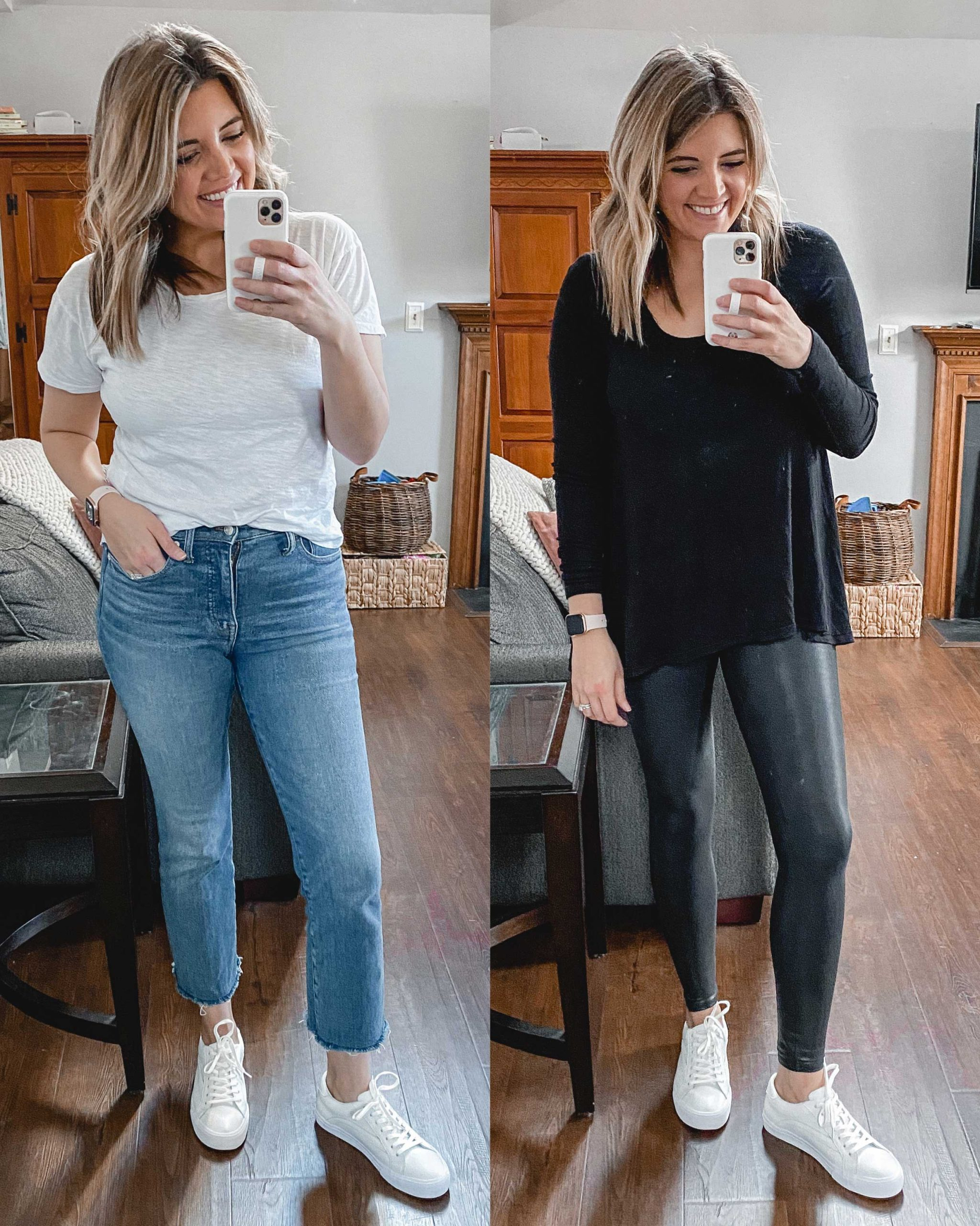 Virginia blogger, Lauren Dix, tries on 10 different pairs of white sneakers for the ultimate white sneaker review! She wears the Madewell Sidewalk sneakers with both jeans and leggings!