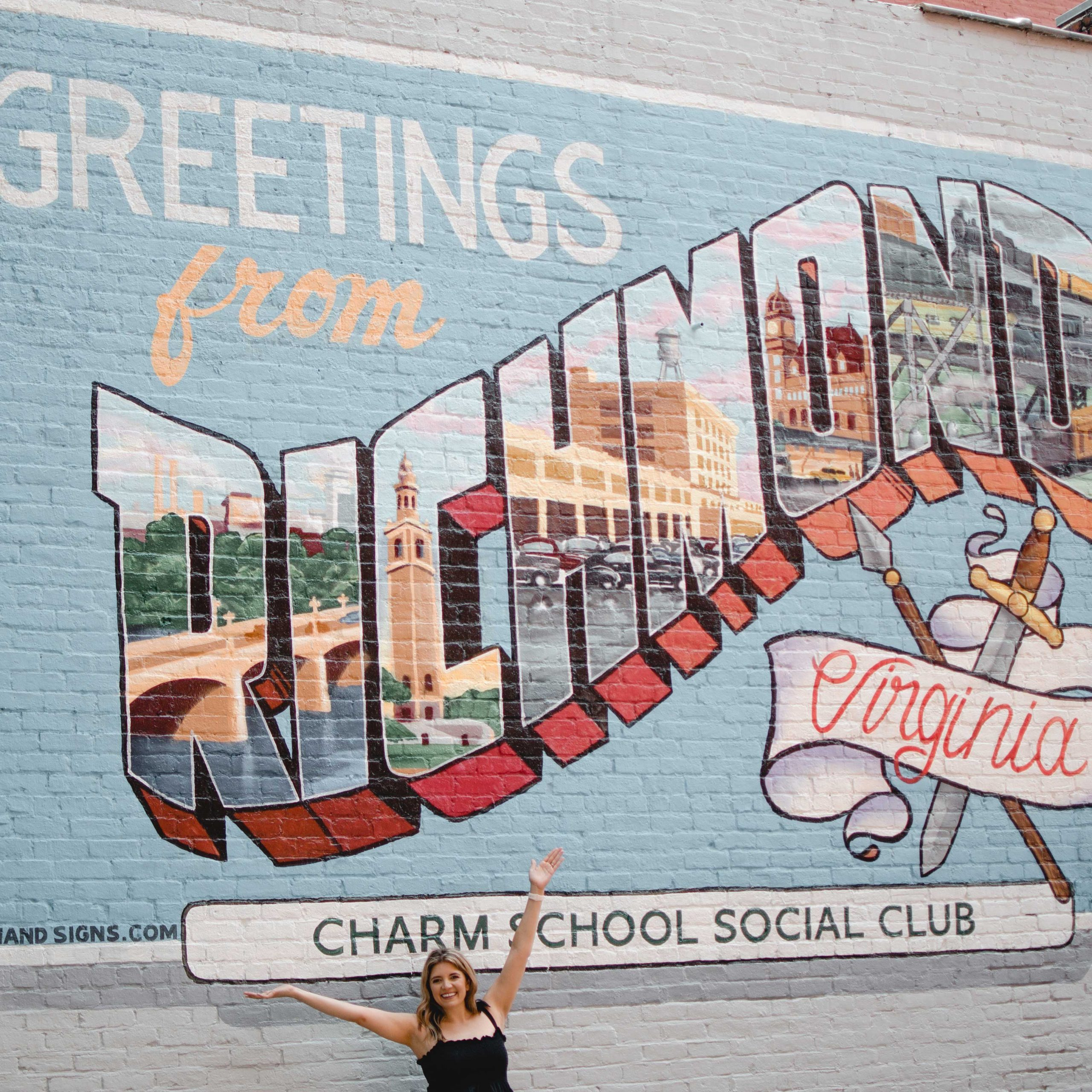 RVA blogger, Lauren Dix, shares all the best Instagram Spots in Richmond, VA! A classic RVA photo spot is at the Richmond postcard mural!