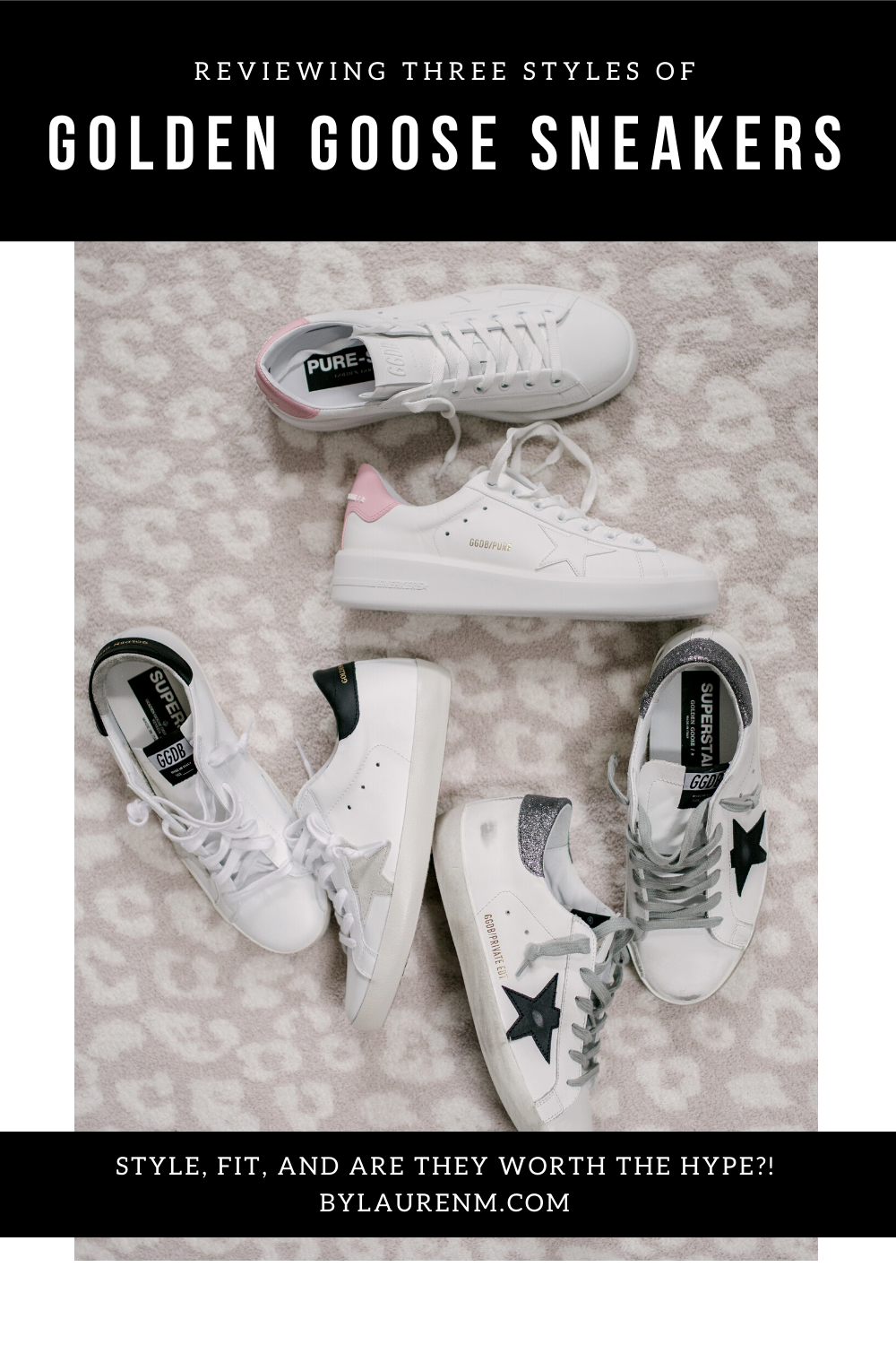 Virginia blogger, Lauren Dix, tries on and compares three styles of GG sneakers in her Golden Goose Sneakers review! Golden Goose Superstars, non distressed superstars, and Purestars reviewed!