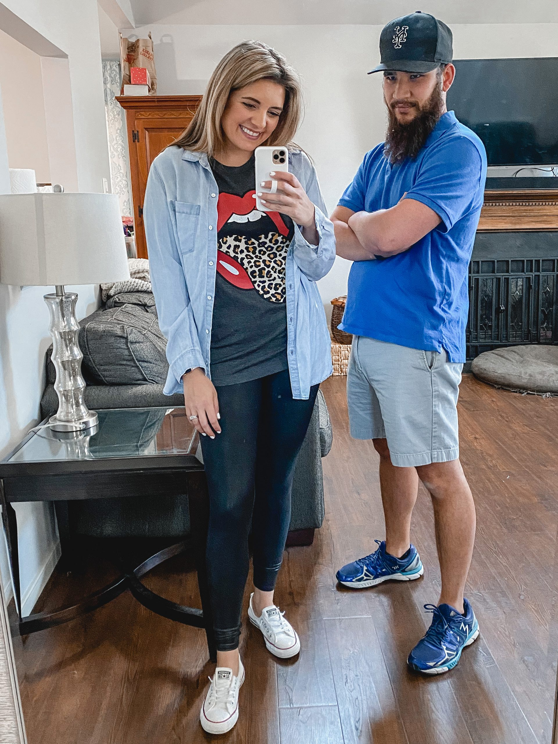 Virginia blogger, Lauren Dix, shares four graphic tee outfits styled completely by her husband!