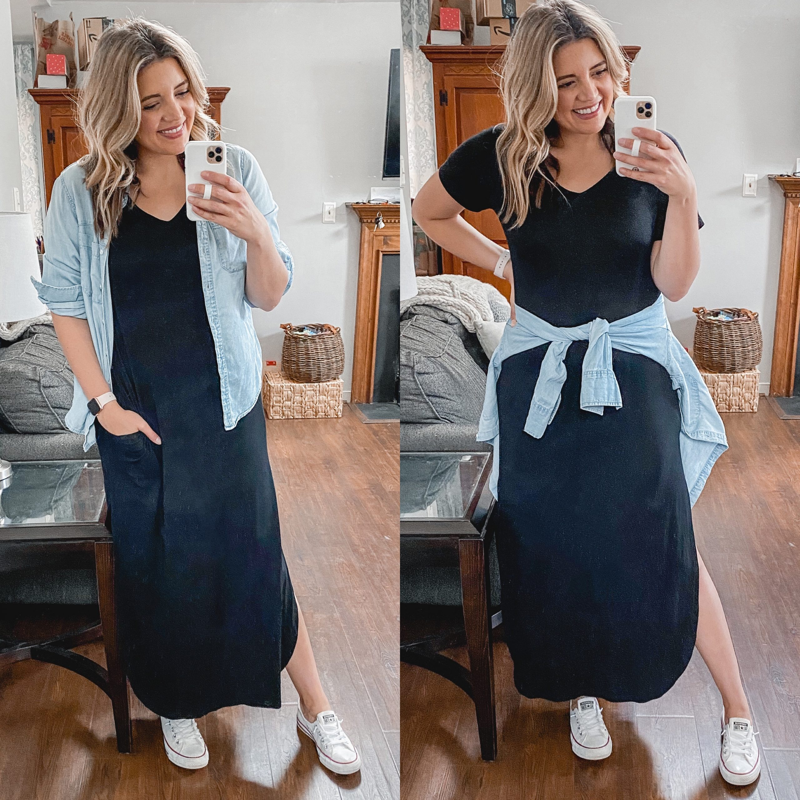 Virginia blogger, Lauren Dix, shares an entire week's worth of black maxi dress outfits for spring!