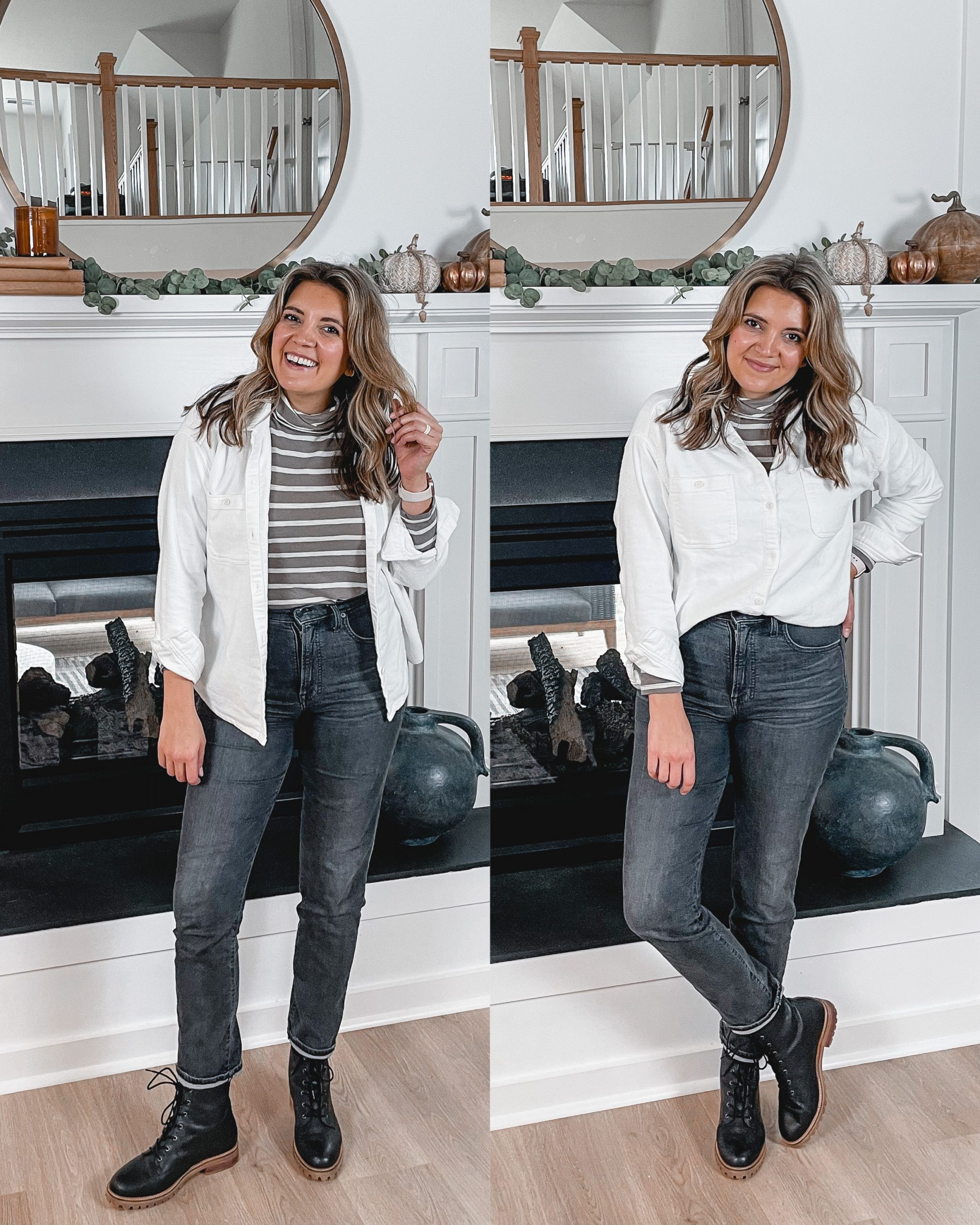 Virginia blogger, Lauren Dix, shares seven white flannel shirt outfits!