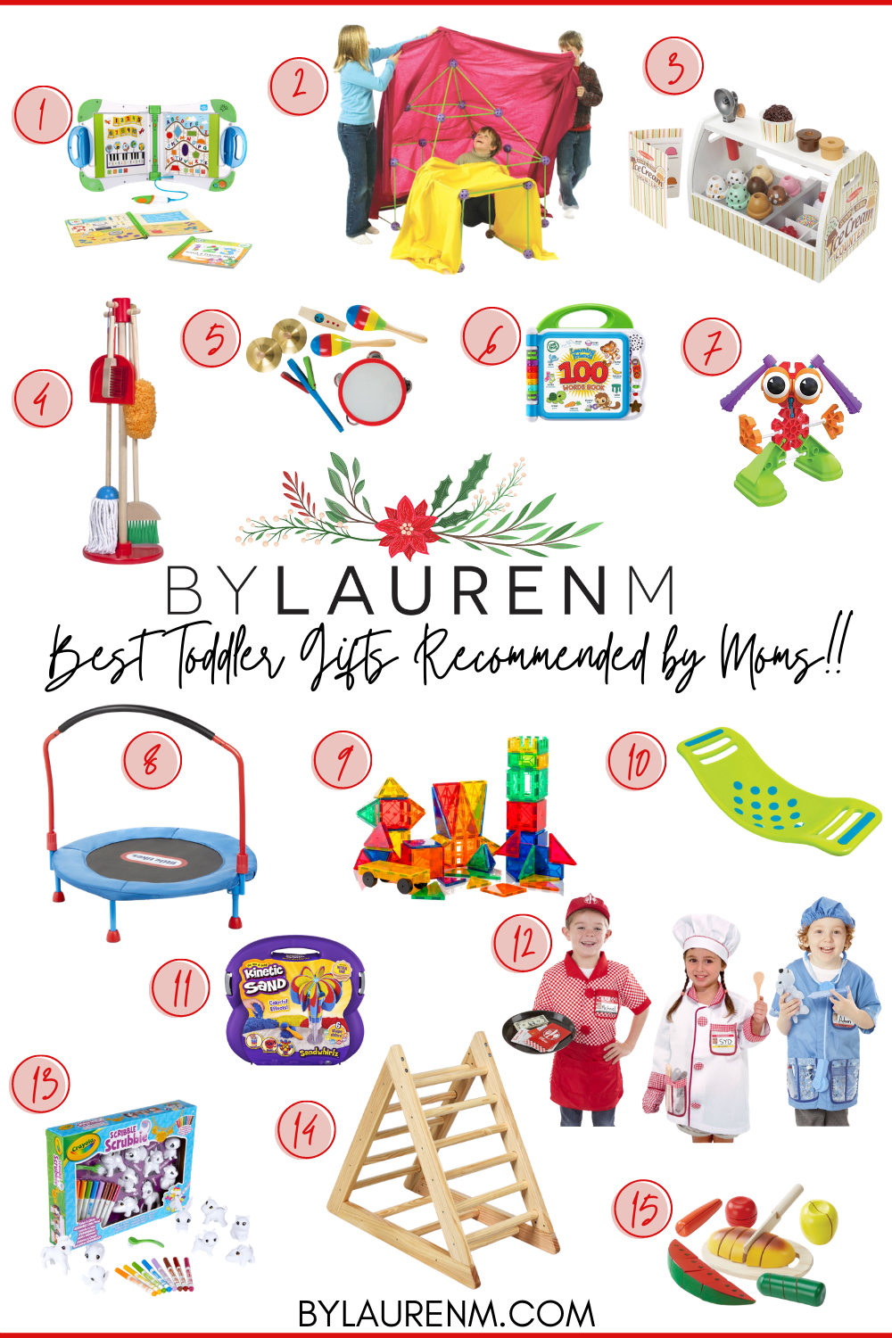 Virginia blogger, Lauren Dix, shares fifteen of the best toddler gifts as recommended by fellow moms!