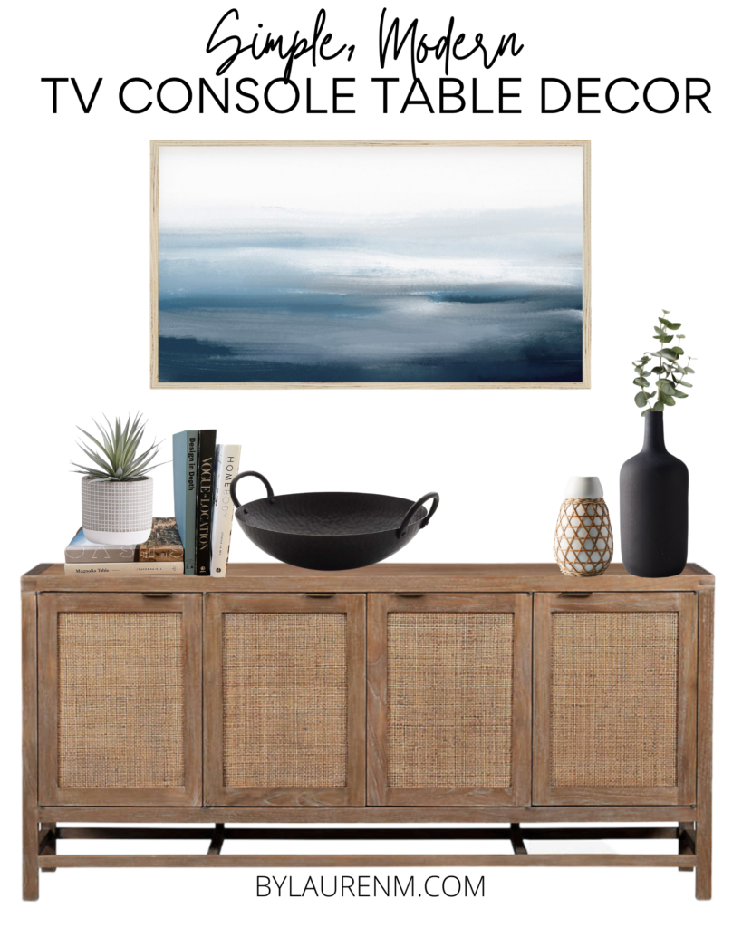 Virginia home blogger, Lauren Dix, shares her simple modern TV console table decor inspiration and she brought it to life!