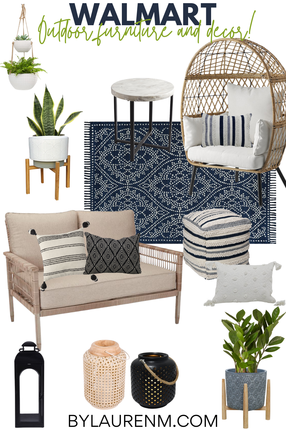 Virginia home blogger, Lauren Dix, shares fifteen of her favorite Walmart outdoor furniture and home decor finds! Get ready to design your perfect outdoor space with this affordable patio furniture!