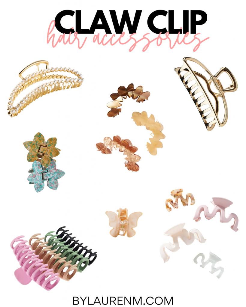Virginia Blogger Lauren Dix shares four easy claw clip hairstyles. Claw Clip hair accessories.