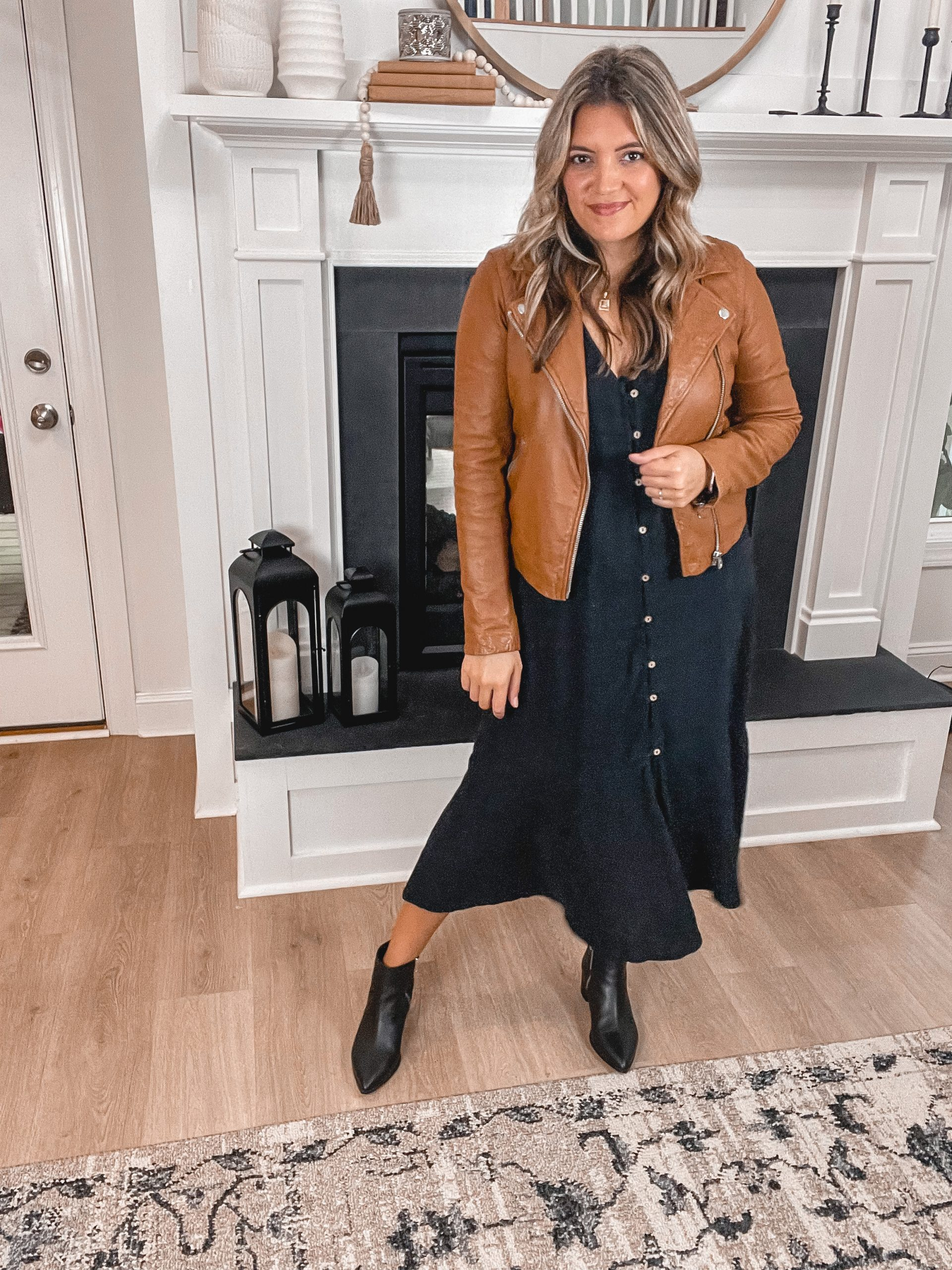 Virginia blogger, Lauren Dix, shares five brown leather jacket outfits for fall.