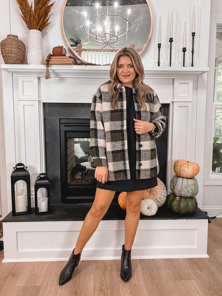 Virginia blogger, Lauren Dix, shares five shirt jacket outfits. Ways to wear a plaid shacket.