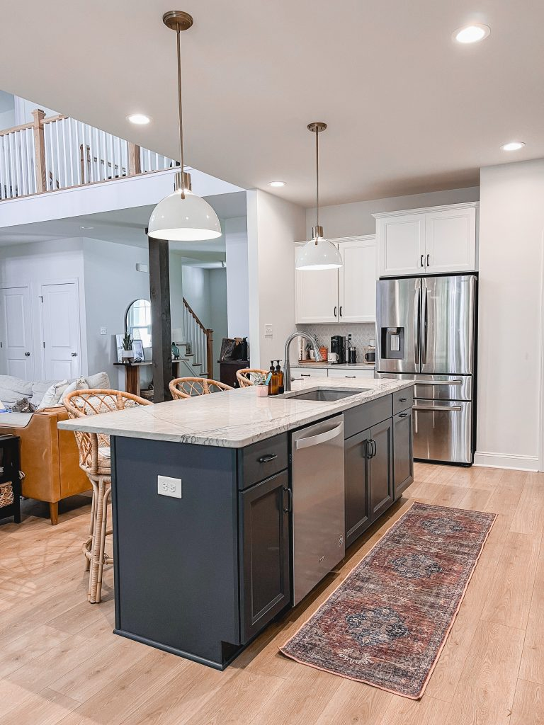 Virginia home blogger, Lauren Dix, shares affordable washable rugs available at Walmart! Machine washable kitchen runner rug.