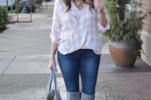 Blush Pink Plaid Top
