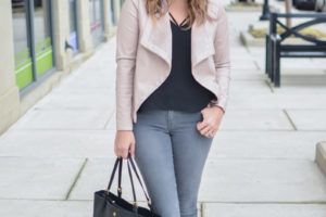 Blush Leather Jacket + Gray Jeans