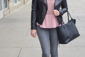 Pink Lace Top + Moto Jacket