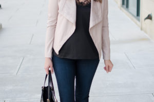 Lace Camisole + Blush Leather Jacket