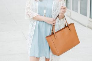 Chambray Dress with a Long Lace Kimono
