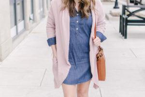Chambray Dress + Blush Pink