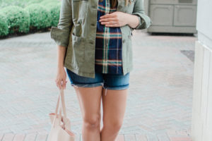 Early Fall Maternity Style - Shorts + Plaid