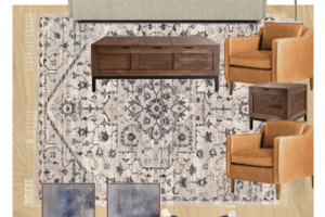 Virginia blogger, Lauren Dix, shares her neutral modern living room mood board, featuring a Crate and Barrel sofa, West Elm leather chairs, and Boutique Rugs rug.