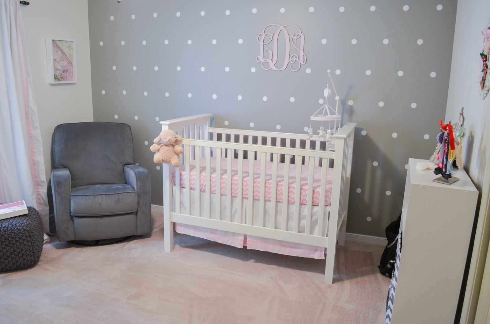 Pink Grey Nursery Polka Dot Bylaurenm