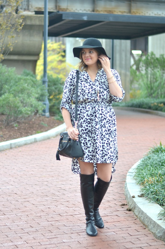 Snow Leopard Dress Over The Knee Boots By Lauren M
