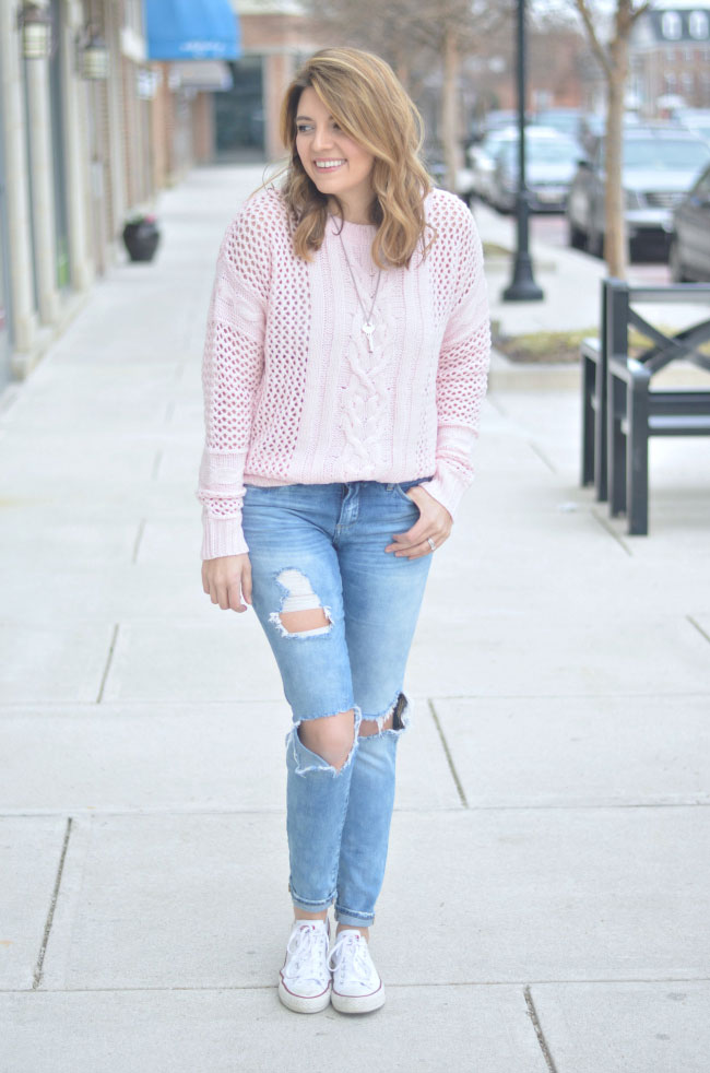 Blush Pink Oversized Sweater By Lauren M