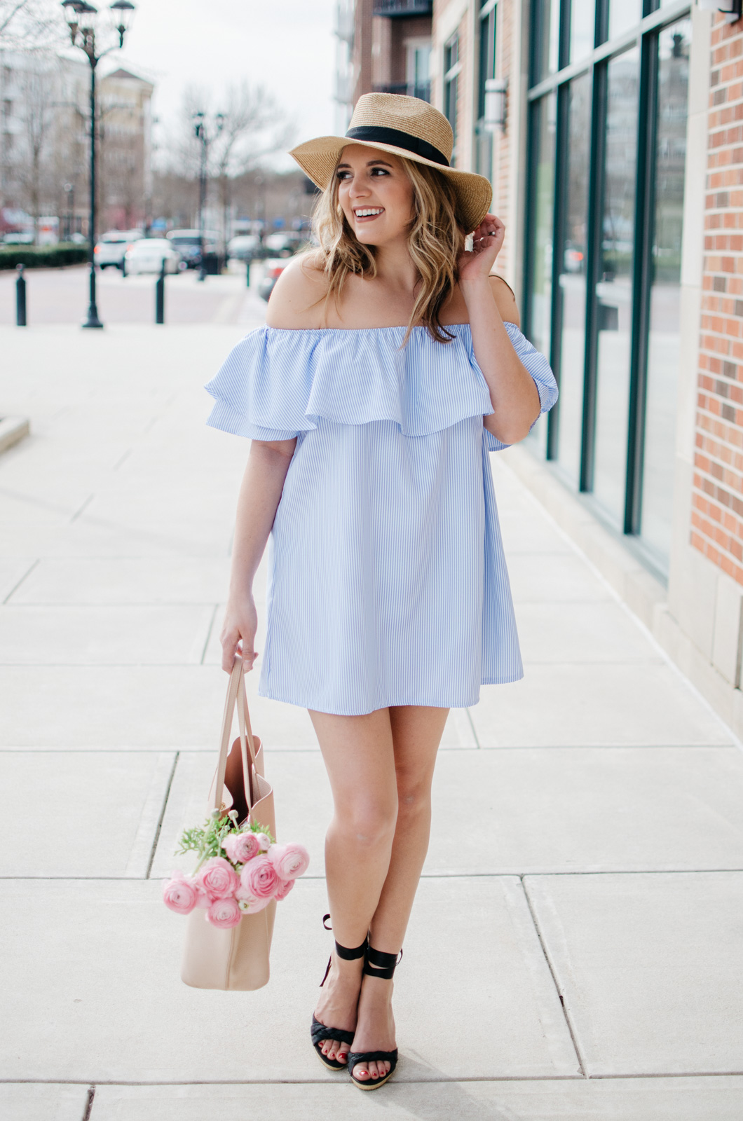 Girly Spring Outfit - Stripe Off Shoulder Dress