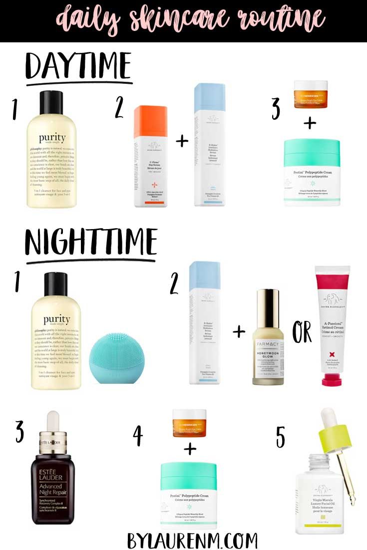 Virginia blogger, Lauren Dix, shares her top skincare favorites, including both her daytime and nighttime skincare routine.