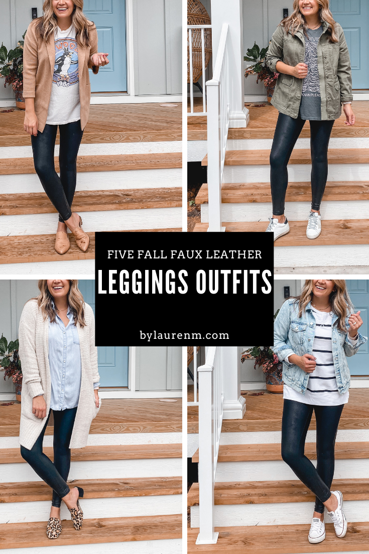 Virginia blogger, Lauren Dix, shares five fall spanx faux leather leggings outfits!