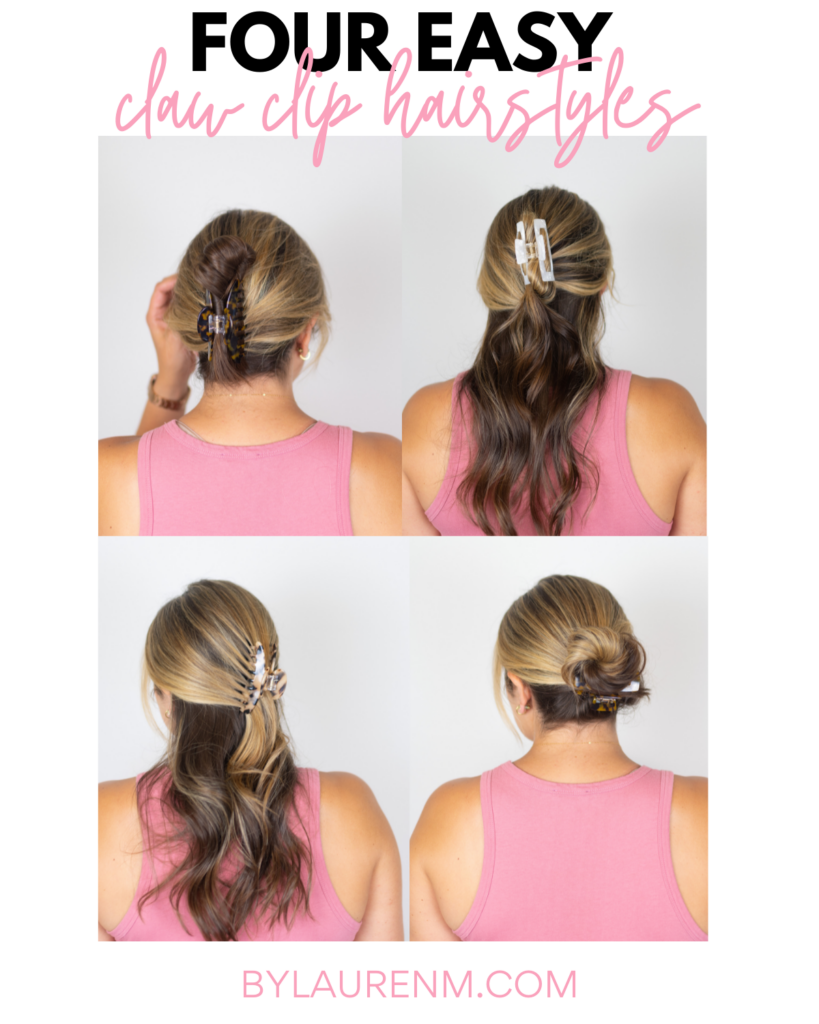 Virginia Blogger Lauren Dix shares four easy claw clip hairstyles.